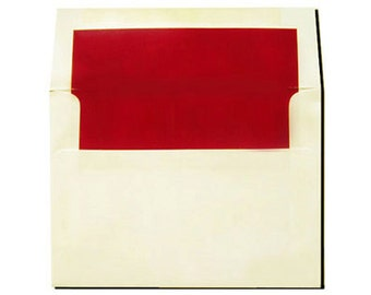 20 Cream with Red Lined Envelopes - A7 Size