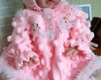 Baby Knitting patterns Ref12 Matinee Coat, Bonnet and T Bar Shoes size 0-3mths