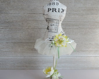 Mannequin Shabby Chic Dress Form Pincushion Pin Keeper Handmade Decor Lady Spring