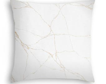 Beautiful creamy with gold metallic veining pillow cover.