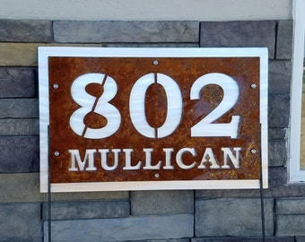 Rustic Address and Street Number Sign on Yard Stake, Address Number Metal Yard Sign, House address, street address, Custom address sign