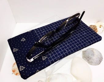 Masculine Sunglasses Pouch, Men's Glasses Case, Blue Eyeglasses Case for Men, Minimalist Glasses Case, soft glasses case, Father's Day Gift