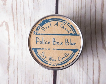 Fandom Candle ~ Doctor Who Inspired  ~ Police Box Blue ~ 4oz Soy Candle