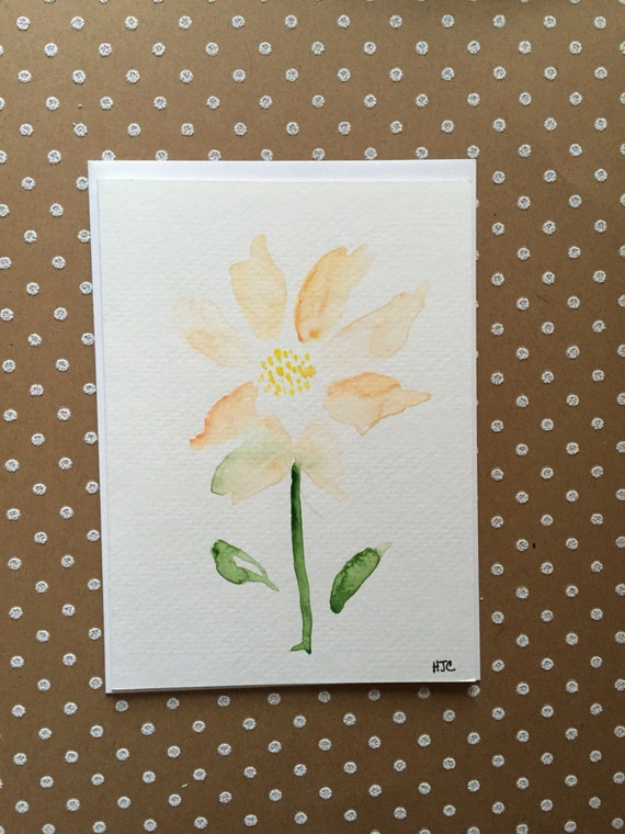 Watercolor Flower Card, Hand Painted Card, Original Flower Card, Homemade Card, Flower Greeting Card