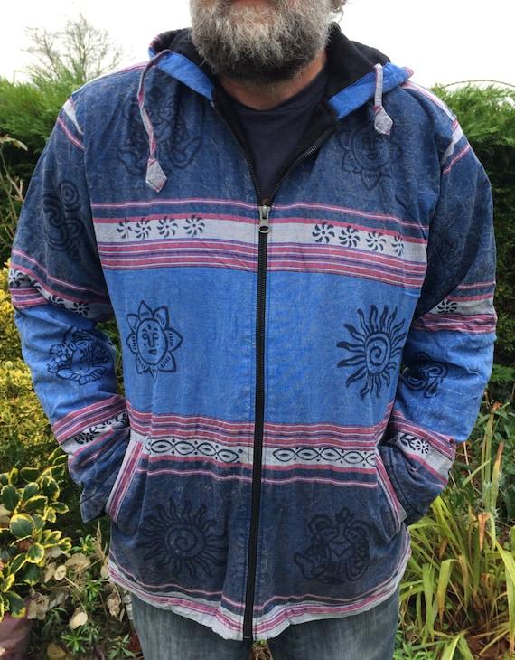 Men and Women's Fleece Lined Colorful Stonewash Jacket With Block Print Hippy Boho Unisex Blue Black M L XL XXL
