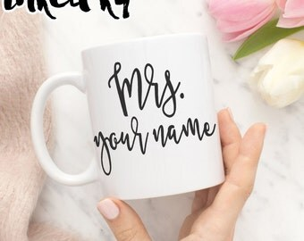 11 oz or 15 oz - Mrs. with custom name Ceramic Coffee Mug, gift for bride, unique coffee mug gift coffee, customized, personalized