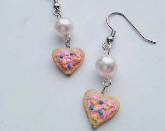 Pink Frosted Heart Shape Sugar Cookie Charm Earrings