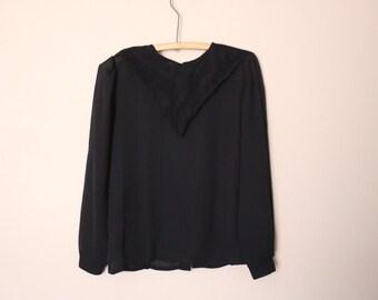80's chiffon blouse with lace collar size xs