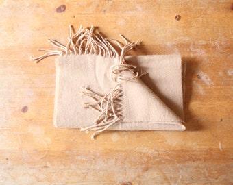 Camel acrylic knit scarf