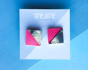 SQARE - Contemporary eco-leather earrings || 100% Handmade || Made in italy