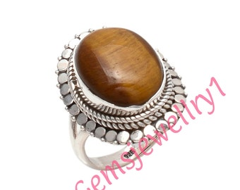 Tigers eye ring, large tigers eye ring, sterling silver tigers eye ring, tigers eye,brown gemstone ring,US Size 5 6 7 8 9 10 11 12 13 14  15