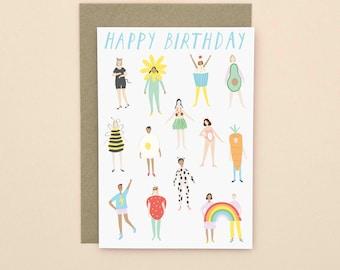 Illustrated Happy Birthday Card A6
