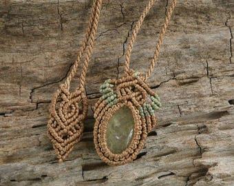 Handmade Prehnite Macrame Necklace / Metal Free