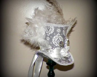Mini Gray Top Hat Gothic Fascinator White  Steampunk   Gothic Cosplay Costume Bridal  Tea Part