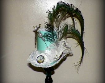 Mini Top Hat Fascinator Tea Party Steampunk  White Aqua Blue Gothic Cosplay Costume Bridal