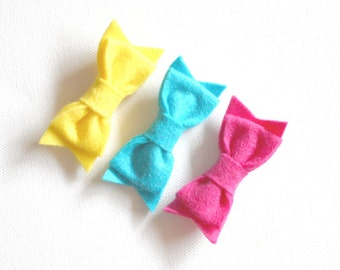 Felt Bow Hair Clips - Yellow, Turquise and Hot Pink