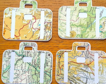 Travel Theme Gift Tags - Suitcase Shaped World Map Gift Tags - Atlas Birthday / Wedding Gift Tags - Favour Tags - Party Tags
