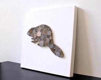 3D Modern Rustic Decor, Minimalist Wood Beaver Wall Decor, Shabby