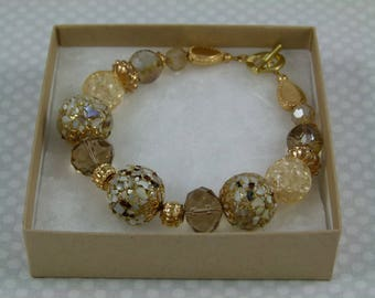 Gold Toned Bracelet - fits a 7-3/4 inch wrist or smaller - FREE SHIPPING