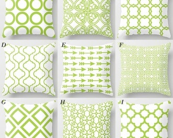 Green Pillows, apple green on white pillow, arrow, flower, square, mix and match home decor pillow