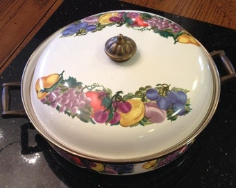 Enamelware Pot and Lid cream colored with fruit pattern