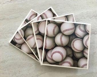 Baseball Coasters, Baseball, Baseball Gift, Sports, Tile Coasters, Ceramic Coasters, Coasters, Coaster Set, Coasters, Man cave decor