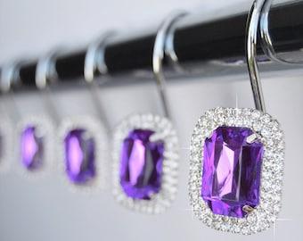 Shower Curtain Hooks Rings   Luxurious Purple Decorative Crystal Diamond  Bling Rhinestones Bathroom Bath   Set