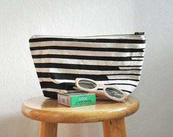 zipper bag // swell // large // handprinted // black and white
