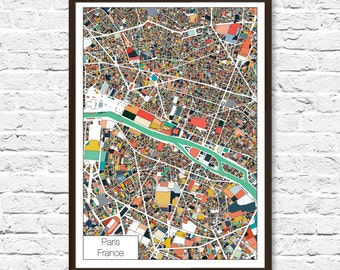 Paris, Abstract, Paris Map Poster, Paris Print, Paris Art, Paris France, Abstract Art, City Map, Map Art, Paris Poster, Paris Map Print