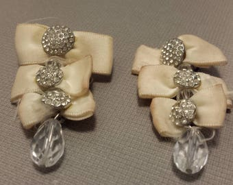 Vintage Dangle Bows clip on Earrings with inset crystals