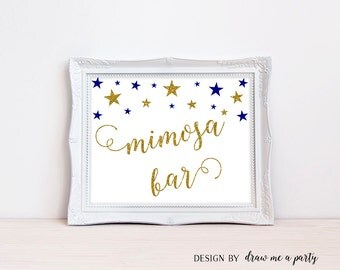 Twinkle Twinkle Little Star Mimosa Sign , Royal Blue and Gold Baby Shower , Gold Mimosa Bar Sign , Blue Baby Shower Decoration