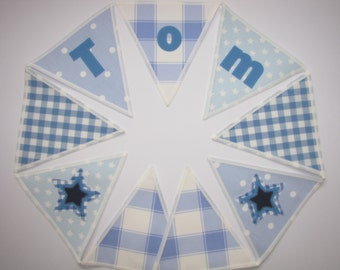 Personalized Cath Kidston Fabric Banner Bunting Priced per flag, Blue New Star, Gingham, New Baby, Birthday Gift, Personalised, Handcrafted