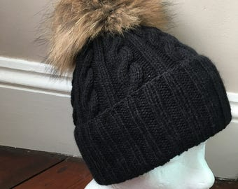 Black Cable Knit Handmade 100% Cashmere Hat with Large Raccoon Fur Pom Pom