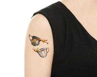 Temporary Tattoo -  Milk Tea / Moon / Watercolor Bird / Watercolor Lion / Watercolor Whale