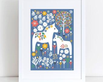 Scandi Dala Horses   A4 Giclee Print   New Baby   Art Print   Nursery Art   New Arrival   Scandi Art   Christening   Baby Shower Gift   Folk