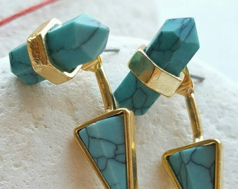 Winter Trends Gold plated Turquoise Stud Earrings!!