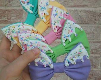 Pastel Icing & Sprinkles Hair Bow~Choose Color