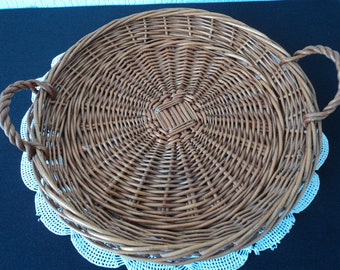 REDUCED - French Vintage hand crafted wicker tray / storage basket  (04487)