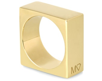Modern square ring - Minimalist square ring - Gold ring - Gold geometric ring