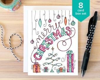 CHRISTMAS CARD SET: Merry Christmas Card Box Set. Whimsical Holiday Cards. Fun Holiday Card. Folded Greeting Card. Hand Drawn Christmas Set.