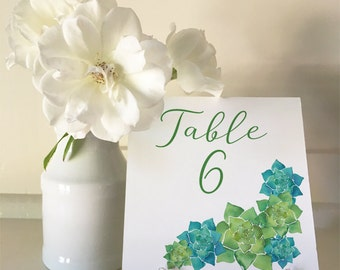 Succulents - A5 Table Numbers 1 to 30 Square - DIY Wedding & Printable