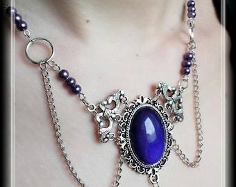 Gothic victorian dark purple medallion necklace