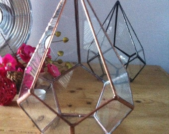Geometric glass terrarium, small teardrop terrarium, wedding decoration, patio decor, indoor garden, urban glass planter