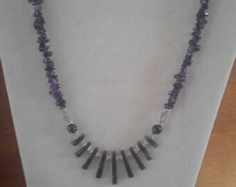 Amethyst fan necklace