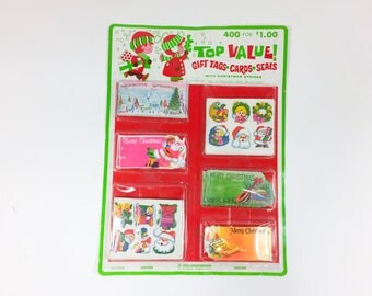 NEW Vintage Christmas Gift Tags And Cards And Seals Unopened 400 Pieces Retro Santa Claus Graphics Ephemera New In Package