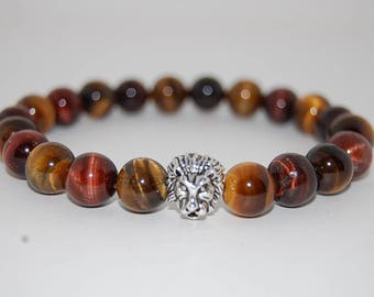 Tiger Eye Bracelet,Lion Head,Red Tiger Eye,Yellow Tiger Eye Gemstone,10mm Beads,Man,Mens Beaded Bracelet,Tiger Eye Gemstone Bracelet,Surfer