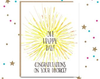 Divorce Card, Funny Greeting Card, Newly Divorced, Congratulations card, Handmade Greeting, Sorry Cards, Celebration,  FourLetterWordCards