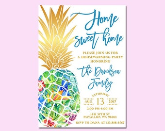 Pineapple Housewarming Party Invitation, Home Sweet Home Invitation, Tropical, Luau, Hawaiian Invitation, Printable File Only