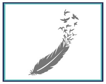 Feather Decal - Birds and Feather Car Decal - Feather Car Decal - Feather Window Decal - Laptop Decal - Yet Decal - Boho Decal -