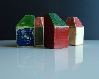 Set of 4 wooden houses,agift for a housewarming,painted in vintage style with acrylic paints